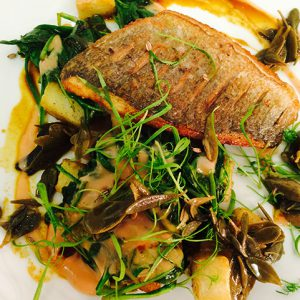 A pan fried Bream laid on top of vegetables, prepared by the head chef at The Plough, Great Chesterford