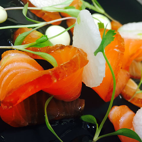 A Salmon dish prepared by the head chef at The Plough, Great Chesterford